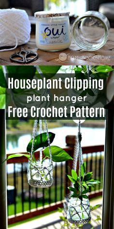 free crochet pattern for houseplant clipping hanger