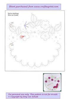 ED063 Flowers on Craftsuprint designed by Emy van Schaik - Stitching with beads - Now available for download!
