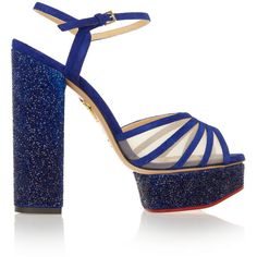 Charlotte Olympia Lizzie embellished suede and mesh platform sandals (28,265 DOP) ❤ liked on Polyvore featuring shoes, sandals, heels, royal blue, embellished sandals, platform shoes, royal blue sandals, strappy high heel sandals and platform sandals