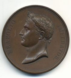 """Napoleon, Coronation Festivities and Banquet at Paris. Bronze Medal. By Galle and Jeuffroy. Circa 1804. Laureate Bust of Napoleon. """"NEAPOLIO IMPERATOR."""". 68mm."""