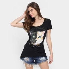 Camiseta Colcci Gato Strass - Preto
