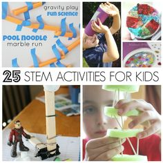 25 STEM activities for kids to try on vacation break. Screen free STEM activities for kids. Science, technology, engineering, and math ideas for kids. Preschool, Kindergarten, and early elementary grade school STEM activities and challenges.
