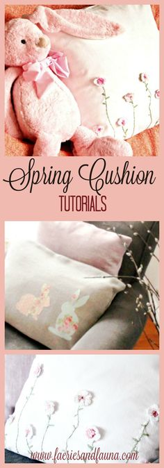 Last week when I posted my Spring Home tour, I promised tutorials for some of the items included in the tour. Here are the tutorials for the Spring couch cushions. Appliqued Bunny Couch Cushion You can purchase a oblong shaped plain fabric cushion or make you own cushion cover. If you want to make your…