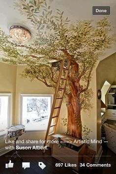 Bringing nature inside... I sooo want to do this! And add a window and comfy pillows seat for reading...heaven!