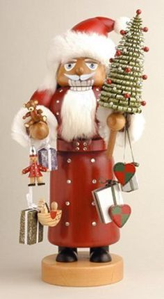 KWO Swarovski Santa Christmas German Nutcracker, handcrafted and decorated with Swarovski crystals from the Erzgebirge in Germany