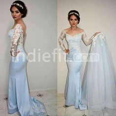 Sky Blue Lace Spliced Trumpet/Mermaid Satin Prom Dresses 2017