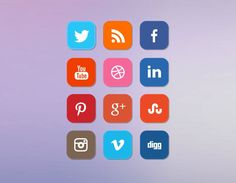 Clean Rounded Flat Social Media Icon Set