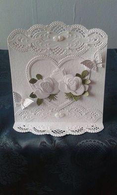 Wedding Cards Handmade, Handmade Cards, Marianne Design Cards, Shaped Cards, Heart Cards, Heartfelt Creations, Flower Cards, Anniversary Cards, Diy Cards