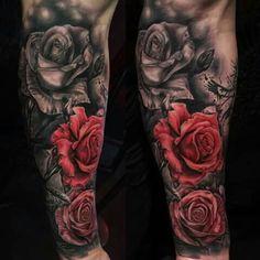 Rosa roja, negra y blanca