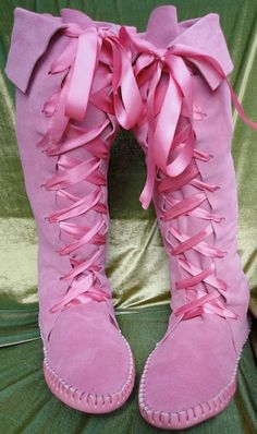 Pink FAIRY ELF BOOTS sz 7 Handmade Moccasins knee by earthgarden