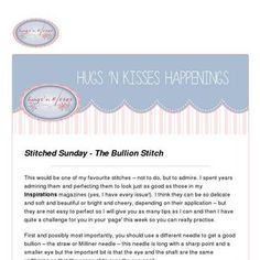 Read my latest newsletter! Russian Cross Stitch, Hugs N Kisses, Applique Stitches, Thread Up, Herringbone Stitch, Stitch Book, Little Stitch, Last Stitch, Little Designs