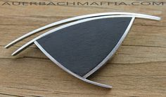 Betty Cooke Modernist Sterling and Wood Brooch 1950