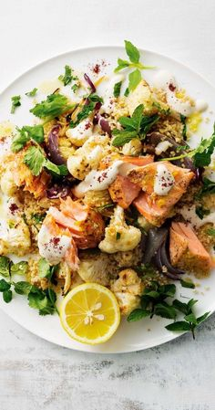 Lebanese Roast Salmon over Cauliflower Salad Sweet, nutty burghul is lovely tossed with spicy roast veg and fresh herbs. Salmon Recipes, Fish Recipes, Seafood Recipes, Whole Food Recipes, Vegetarian Recipes, Dinner Recipes, Healthy Meal Prep, Healthy Eating, Healthy Food