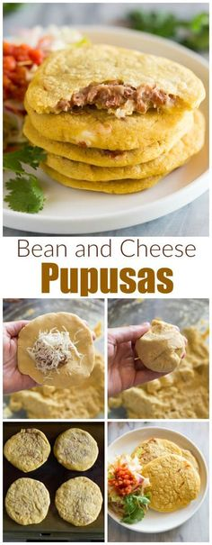 Easy Homemade Pupusas These delicious bean and cheese Pupusas are incredibly easy to make and will make you feel like you're right on the streets of El Salvador! This recipe is fool-proof and I even have step-by-step photos to walk you through it. Authentic Mexican Recipes, Mexican Food Recipes, Vegetarian Recipes, Cooking Recipes, Latin Food Recipes, Masa Recipes, Shrimp Recipes, Cheese Recipes, Papusa Recipe