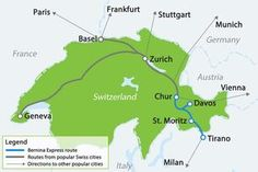 Map with Bernina Express route