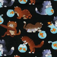 Cat Fabric By-The-Yard - Cats and Fishbowls - Black; Cotton yardage; Cotton Fabric by Timeless Treasures (C2098-BLK)