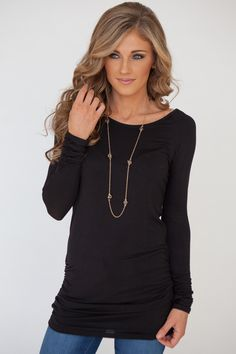 Long Sleeve Ruched Knit Tunic - Black - Magnolia Boutique