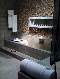 cement. I love cement bathrooms!!