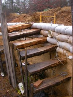 Earthbag house - stairs