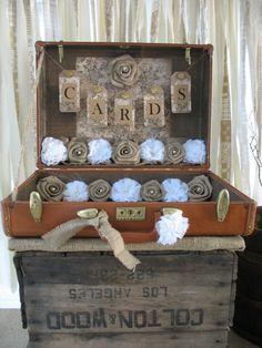 Vintage Suitcase Wedding Card Holder $120  TheShabbyChicWedding on ETSY