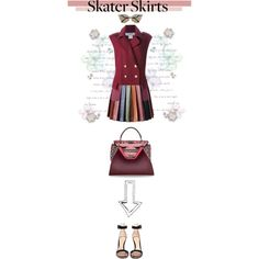 Skater Skirt by shica-du on Polyvore featuring Christian Dior, Marco de Vincenzo, Gianvito Rossi and Fendi