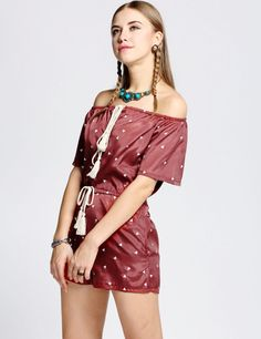 Product Description: New Stylish Casual Fashion Woman's Printed Off Shoulder with Drawstring Waist and Pocket Romper. Material: Polyester, Color: Wine Red, Design: Off Shoulder, Lace Up Neck, Drawstri