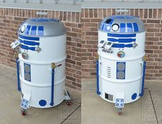 55 gallon drum and charcoal grill lid = sweet R2-D2!