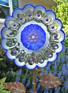 glass garden flower vintage flower plate upcycled glass art