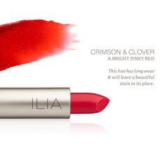 Crimson & Clover Tinted Lip Conditioner   Bright pinky red http://iliabeauty.com/crimson-clover
