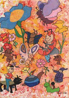 """""""Blomster og bugs""""  Akryl på papir i sort ramme med hvid baggrund  Pris: 1500,- Fragt: 100,- Mobile Pay: 31 61 71 69"""