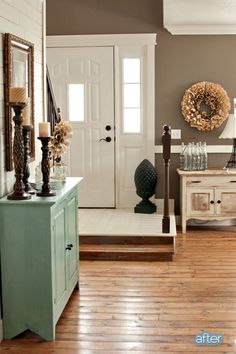 cute little turquoise entry table
