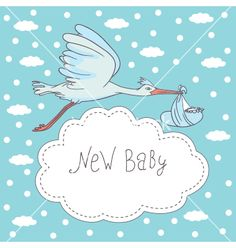 New baby stork flying with baby vector - by DMITRII on VectorStock®
