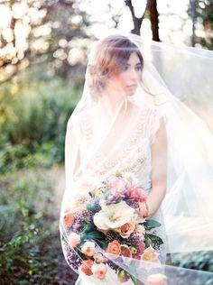 Gorgeous Wedding Photos with a Long Veil | Callie Manion Photography | http://heyweddinglady.com/bright-spring-flowers-fine-art-bridal-style/