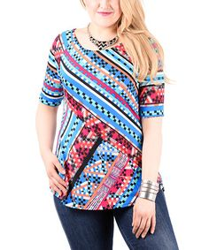 Another great find on #zulily! Blue & Magenta Abstract Stripe Scoop Neck Tunic - Plus #zulilyfinds