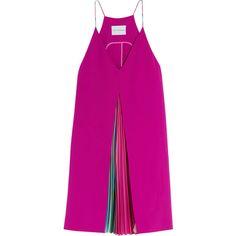 Mary Katrantzou Acer pleated crepe mini dress ($1,680) ❤ liked on Polyvore featuring dresses, tops, vestidos, pink, panel dress, short pleated dress, short pink dress, striped dress and pink mini dress