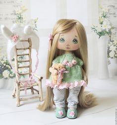 Купить Малышка. Мамина зайка. - мятный, интерьерная кукла, текстильная кукла, кукла ручной работы