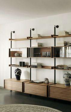 Home Office Design Vintage Shelving Design, Shelf Design, Modular Shelving, Home Office Design, Home Interior Design, Home Furniture, Furniture Design, Muebles Living, Regal Design