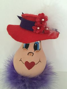 beauty loves purple with her red hat, which is hand made. Recycled Light Bulbs, Painted Light Bulbs, Light Bulb Art, Light Bulb Crafts, Painted Christmas Ornaments, Christmas Decorations, Halloween Crafts, Holiday Crafts, Christmas Light Bulbs