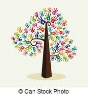 Colorful solidarity hand prints tree