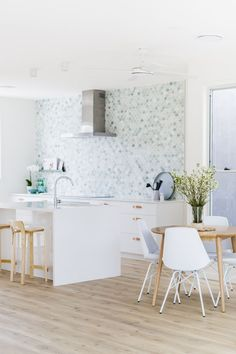 Breeze Block House Kitchen by H&G Designs. Mermaid Tile kitchen Green Tumbles Marble Splashback feature , timber flooring and no overhead cupboards. Kitchen Tiles, Kitchen Design, Rawson Homes, Mermaid Tile, Feature Tiles, Kitchen Trends, Glass House, Cool Kitchens, White Kitchens