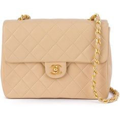 Chanel Vintage Quilted Chain Shoulder Bag (5,500 NZD) ❤ liked on Polyvore featuring bags, handbags, shoulder bags, quilted chain purse, vintage handbags, chain strap purse, chain strap shoulder bag and chain handle handbags