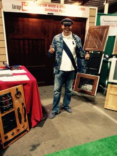 Del Mar home show#Sweet Captain Polo Fish with blue suede shoes!
