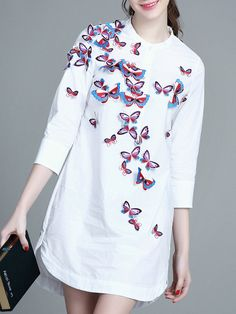 Shop White Crew Neck Bows Furcal Shirt Dress online. SheIn offers White Crew Neck Bows Furcal Shirt Dress & more to fit your fashionable needs.