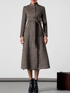 Shop Coats - Long Sleeve Work Houndstooth Shift Coat online. Discover unique designers fashion at StyleWe.com.