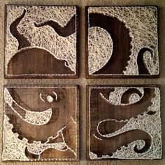 4 panel Octopus Nail and String Art () by brokenwingArts