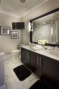 8 Flattering Simple Ideas: Old Bathroom Remodel Creative master bathroom remodel before and after.Master Bathroom Remodel Before And After bathroom remodel shower curbless. Bathroom Mirror Design, Bathroom Colors, Bathroom Wall, Bathroom Ideas, Bathroom Black, Bathroom Sinks, Bronze Bathroom, Budget Bathroom, 1950s Bathroom