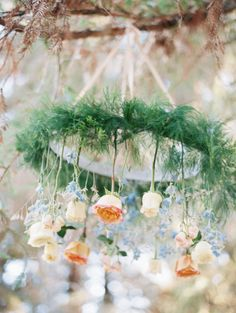 Hanging rose chandelier: http://www.stylemepretty.com/california-weddings/2015/03/25/romantic-redwood-inspired-shoot/ | Photography: Lucy Munoz - http://lucymunozphotography.com/