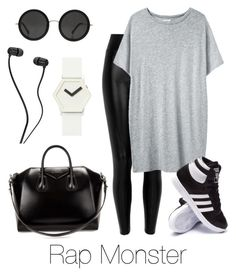 """Airport Fashion: Rap Monster"" by btsoutfits ❤ liked on Polyvore featuring Black, Organic by John Patrick, The Row, adidas, Givenchy and IDEA International"