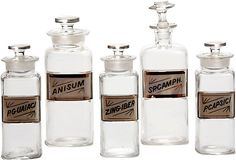 One Kings Lane - Lillian August - Vintage Apothecary Bottles, Set of 5