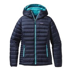 Patagonia Women's Down Sweater Hoody - 800 fill, sleeves long enough, weighs 13.1 oz. Very warm, can combine with base, fleece and shell layers.